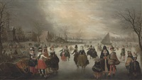a winter landscape with elegant skaters on a frozen lake, a town beyond by adam van breen