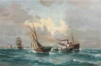 seascape with ships outside copenhagen habour by vilhelm victor bille