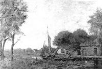 boerderijtje aan de vaart met daarvoor een zeilscheepje by cornelius jacobs aart kruyt