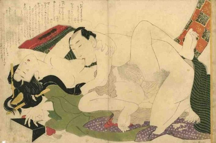 les modèles détreintes ehon tsui no hinagata v album de douze estampes oban nishiki oban yoko e amants en pleine étreinte la femme la tête penchée en arrière renversant lappuie tête by katsushika hokusai
