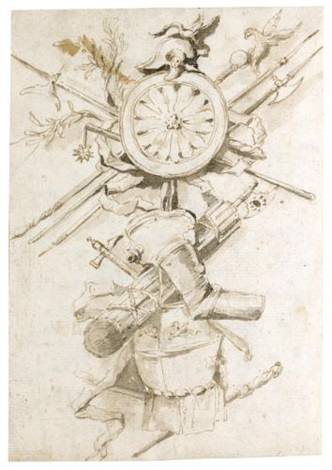 study for a trophy including a cuirass at the bottom a round shield and arms surrounded by a helmet with a swan at the top by francesco guardi