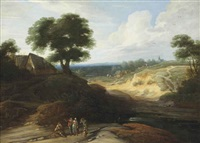 a hilly landscape with figures conversing on a track, a shepherd and his cattle beyond by lodewijk de vadder