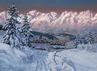 blick auf kitzbühel im winter by alois arnegger