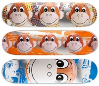 set of 3 skateboard decks (monkeys) by jeff koons