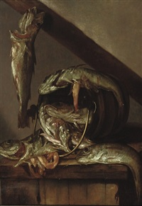 haddock by a bucket on a wooden table by abraham susenier