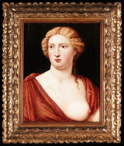 portrait of a courtesan, head and shoulders, wearing a red dress by bernardino licinio