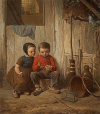 two children with holding bird's nest by johann georg meyer von bremen