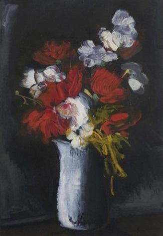 bouquet de fleurs sur fond noir by maurice de vlaminck
