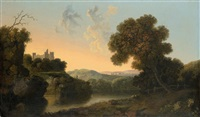 a river landscape with a fishermen on the banks by william groombridge