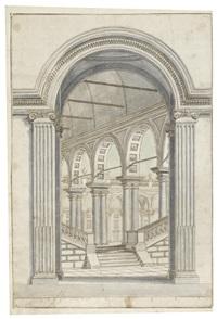 architektonische studie zu einem eingangstor mit rundbogen und ionischer pilasterordnung, dahinter treppenaufgang und arkadenhalle mit doppelsäulen by mauro antonio (maurino) tesi