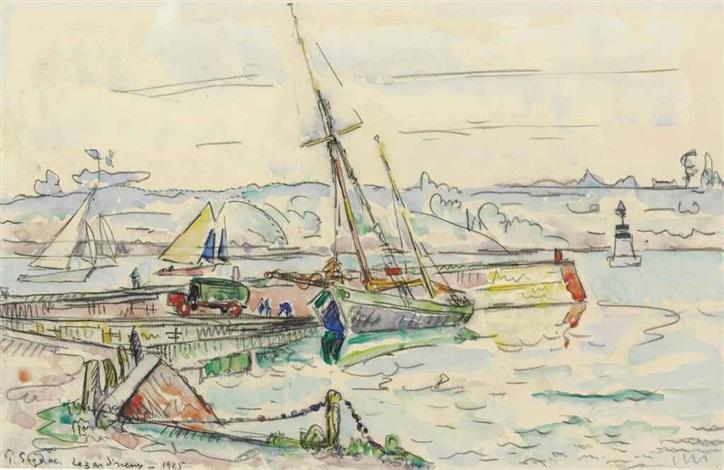 lézardrieux voilier à quai by paul signac