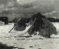 haystacks in winter by charles h. freeman