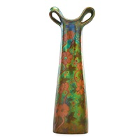 two-handled vase with stylized blossoms by zsolnay
