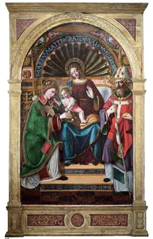 madonna con il bambino e i santi stefano e nicola di bari by leonardo da vinci