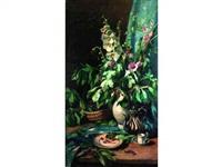 nature morte au vase de fleurs et à la théière by josué gaboriaud