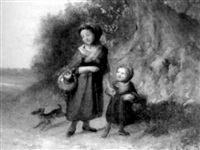 kinderen met een hondje op een bospad by leendert de koningh the younger