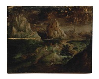 a mountainous landscape with saint jerome and his lion by joachim patinir