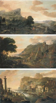 italianate capriccio landscape with an elegant couple riding in the grounds of a country villa (+ 2 others; set of 3) by hendrick danckerts