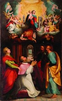 apparizione della madonna di loreto ad un cardinale di nome giovanni, tra i santi giovanni, pietro e paolo by orazio samacchini