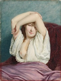 portrait de femme by louis emile pinel de grandchamp