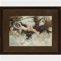 fairy story with ding bat babies and reclining nude; ding bats with robin (2 works) by dudley ward