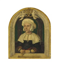 portrait of a lady, half-length, in a white coif and green bodice with fur-trimmed sleeves, in a trompe-l'oeil architectural setting with putti by hans holbein the younger
