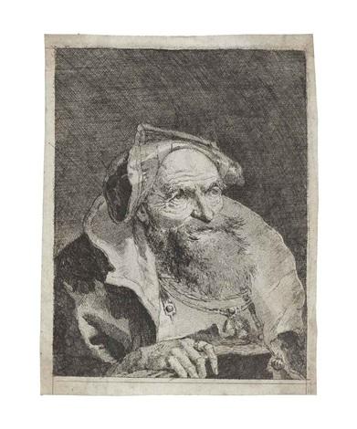 old man with a book from raccolta di teste i by giovanni domenico tiepolo