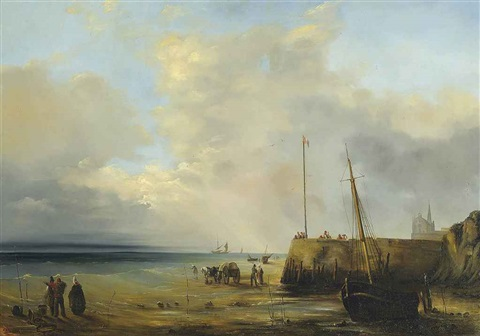 fishermen at the harbour wall low tide by baron jean antoine théodore gudin