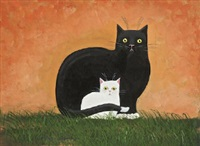 black cat and white kitten by tom goffe