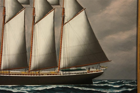 ship's portrait of the five mast wooden hulled schooner 'magnus manson' by solon francis