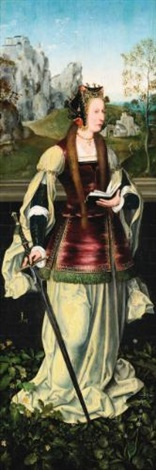 the left wing of an altarpiece: saint catherine of alexandria by flemish school-antwerp (16)