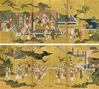 chinese court ladies playing backgammon and fencing with flowering branches (+ another; pair) by japanese school-kano (17)