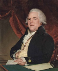 portrait of john sims, half-length, seated at a writing table, a letter in his left hand by lemuel francis abbott