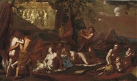 a bacchanal in a landscape with ancient ruins by johann heiss