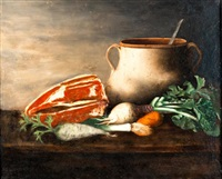 nature morte à la pièce de viande, marmite et légumes by helen torr