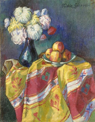 still life with chrysanthemums by géza kádár