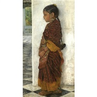 girl standing in a veranda wearing a pochampalli sari by hermann linde