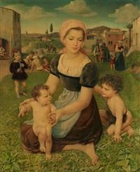 maria mit den kindern jesus und johannes auf einer wiese. im hintergrund stadtrandszene vor südlicher landschaft by charles-louis rivier