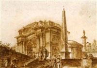 un capriccio avec l'arc de constantin, la colonne de trajan, un obélisque et un temple rond by françois boucher the younger