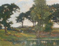 figures by a pond by augustus william enness