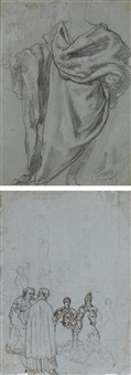 draperie pour un apôtre (verso, study) by taddeo zuccaro