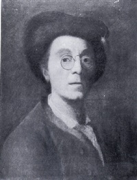 portrait of the artist wearing a brown coat, white chemise, fur-trimmed cap and a pair of pince-nez by johann christian fiedler