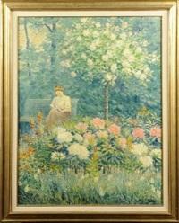 femme dans un jardin fleuri by jean eyckelbosch