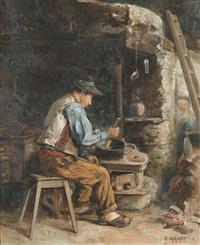 kücheninterieur mit mann an einem herd by jules gachet
