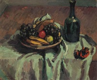 still life of fruit and wine bottle on a table by duncan grant
