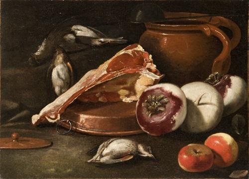 bistecca mele rape cacciagione di penna e vaso di coccio con mestolo su un tavolo by cristoforo munari