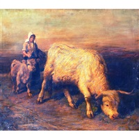 young shepherdess guiding a cow and calf by joseph denovan adam