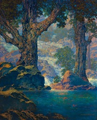 cascades (quiet solitude) by maxfield parrish