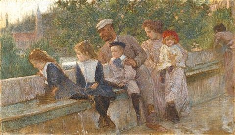 the artist with his family at cavtat by vlacho bukovac