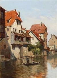 kanalparti ved regnitzfloden, nürnberg by august fischer